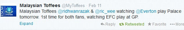Special trip: The Malaysian Toffees Twitter page mentioned the supporters visit to Goodison on Tuesday