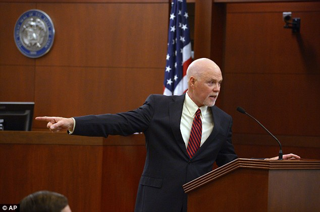 Deputy Weber County prosecuting attorney Chris Shaw gives his opening statements at Eric Millerberg's trial Wednesday, Feb. 12, 2014, in Ogden, Utah