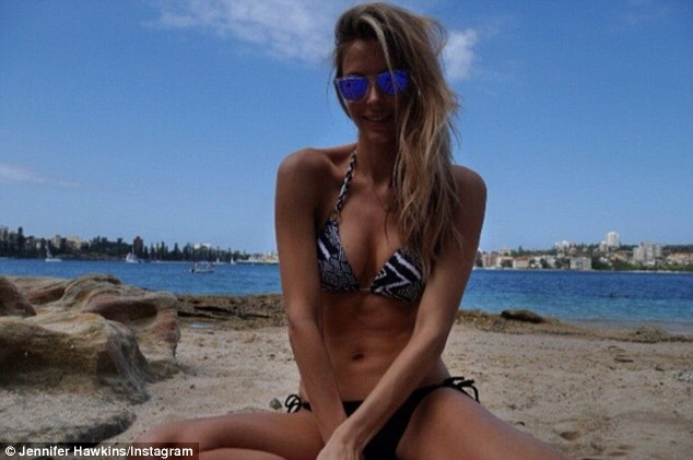 Beach babe: Jennifer shared a bikini shot with her social media followers last month