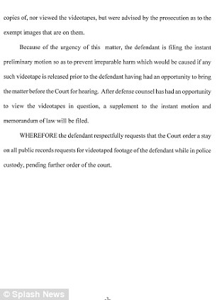 Justin Bieber's attorneys have filed this legal motion to block the release of video footage showing the pop star while he was in police custody