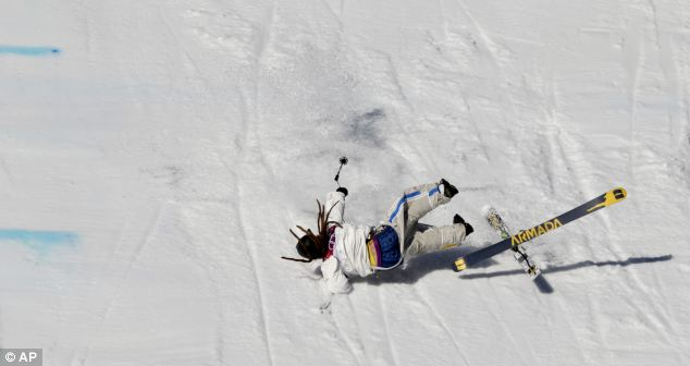 Wipeout: Harlaut suffered the embarrassment of losing both his skis... and his trousers, which were hanging dangerously below the waist in the first place