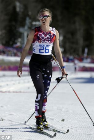 Sadie Bjornsen skis in the finish area after completing the 10k classical-style cross-country race