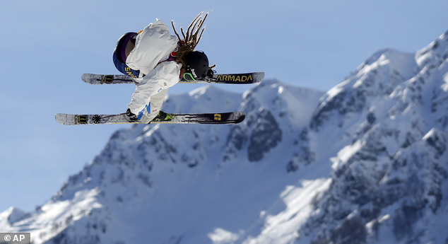 Air time: When his trousers weren't causing him problems, Harlaut performed some impressive moves on the slopes