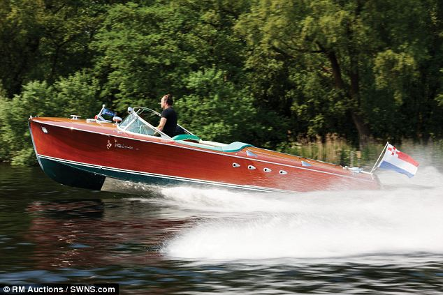Power boat: The Riva Tritone, which has a pair of six-cylinder engines developing 170 horsepower, is expected to sell for around £400,000