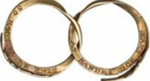 Gimmel ring, c. 1600, described as a 'perfect token of mutual fidelity and love', is made from two interlocking gold bands with a bezel shaped like two clasped hands