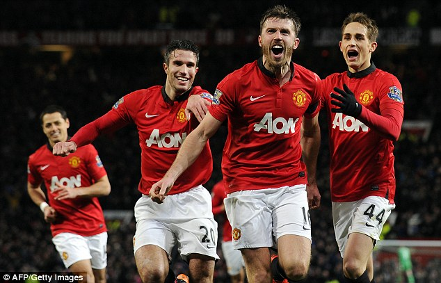 Anchoring the midfield: Michael Carrick got a goal against Fulham in their 2-2 draw