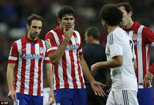 Defector: Brazil born Atletico Madrid striker Diego Costa (C) will play for Spain at the World Cup