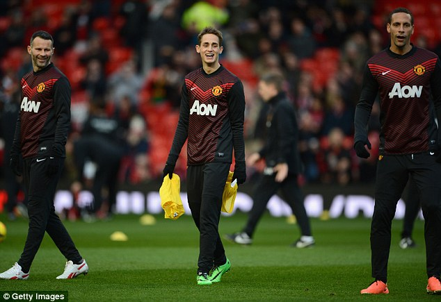 Rising star: Adnan Januzaj (C) has been one of the few highlights in United's struggling season