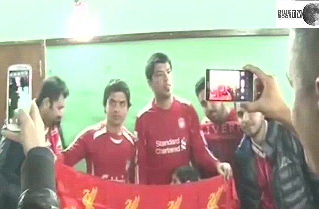 The Iraqi Suarez was pictured watching Liverpool play Arsenal by the Al Arabiya TV channel who later filmed an hilarious video which has become a YouTube hit
