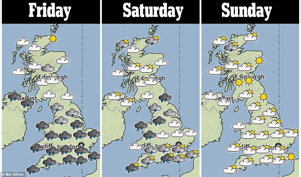 Gloomy: England and Wales face two days of rain and stormy weather before brighter conditions emerge on Sunday
