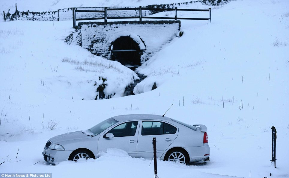 Freeze: The scene this morning showed how residents of northern England have seen their homes buried in snow