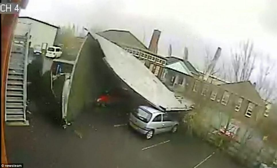 CCTV cameras on the building captured the moment the roof was blown off the Talbot Centre training facility