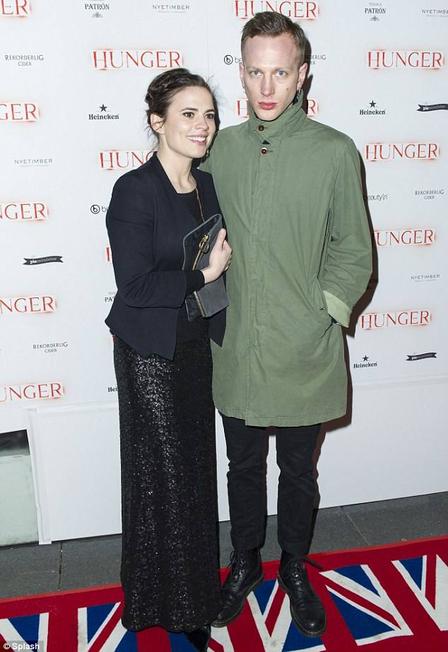 Hot couple: Hayley Atwell and new boyfriend Evan Jones attend the Hunger magazine cover party