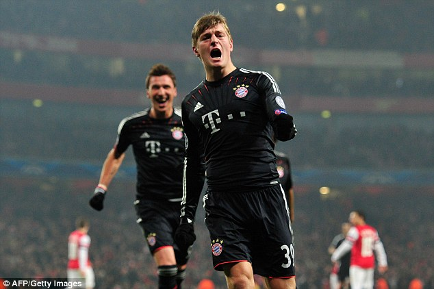 Too good: Toni Kroos led Bayern to an easy win at the Emirates Stadium
