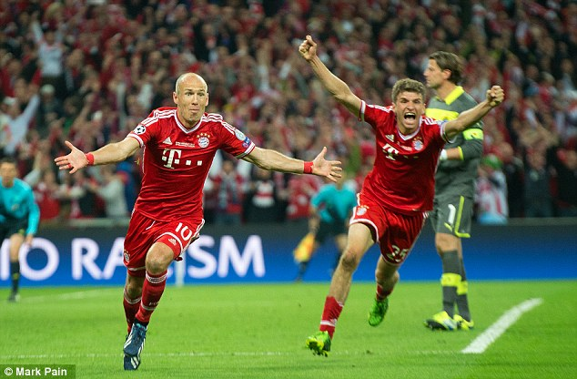 Unstoppable: Arjen Robben (left) netted the decisive goal in the final to beat Borussia Dortmund