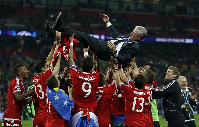 Heroic: Jupp Heynckes led his Bayern side to the Treble before retiring from management