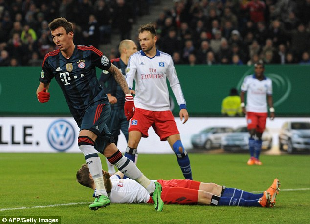 Rampant: Mario Mandzukic netted a hat-trick against Hamburg in the 5-0 rout earlier this week