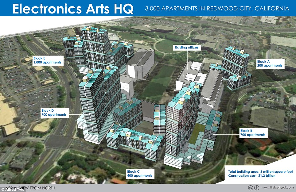 Electronics Arts headquarters features a total building area of three million square feet housing five huge blocks for employees