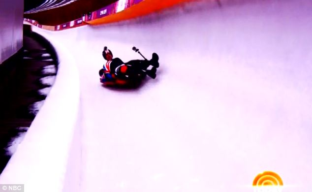 Out of control: But the second run wasn't quite as successful and the men lost control and hit the walls
