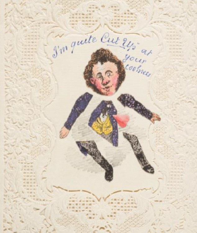 This card from around 1825 has a handwritten message 'My late dear wife preserved in a glass case She was such a darling Pet that I had her stuffed. Will you be my second?'