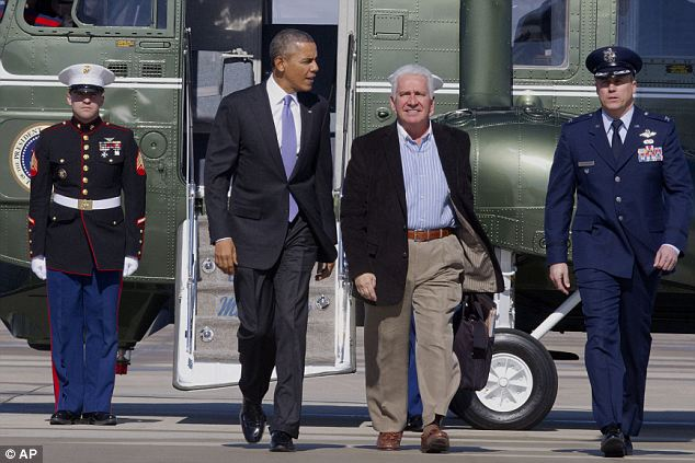 Travel companion: President Obama spent the day at a Democratic conference in Maryland, accompanied by Congressman Jim Costa