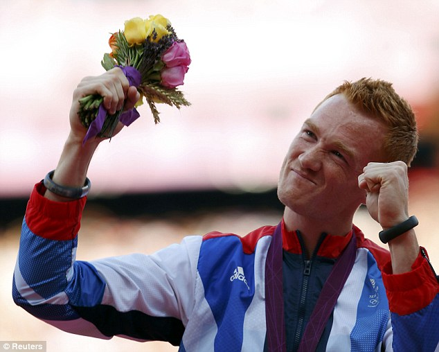 Former glory: London 2012 long jump winner Rutherford came third in his first event in six months in Birmingham