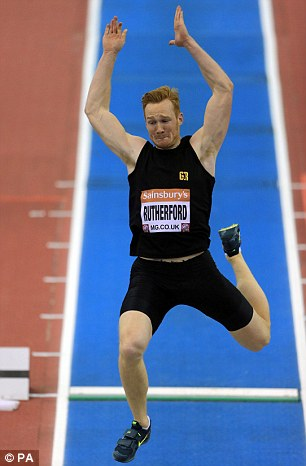 High-flyer: Rutherford returned to competition at the British Athletics Indoor Grand Prix in Birmingham