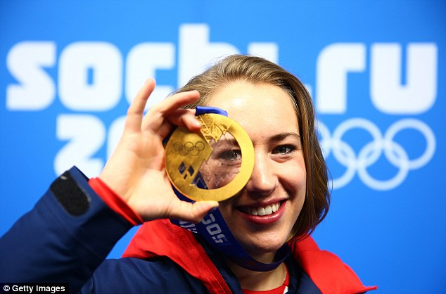 Inpiration: Team GB's Lizzy Yarnold with her gold medal for winning the women's skeleton in Sochi