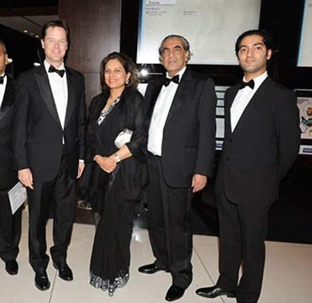 Nick Clegg pictured with (left to right) Anita, Sudhir and Bhanu Choudhrie at a charity event