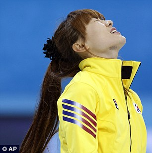Despairing: South Korea's Gim Um-chi looks on in dismay after a missed shot