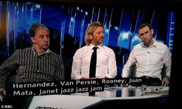Lost in translation: Last Sunday, the BBC struggled to get to grips with the name of footballer Adnan Junazaj - misspelling his name as 'Janet jazz, jazz jam'. However, it correctly spelled the names of other players