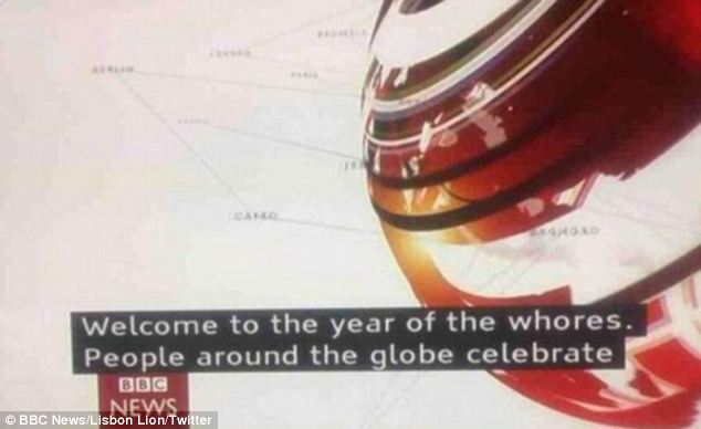 Embarrassing: The BBC marks the Chinese New Year by welcoming viewers into the 'year of the whores' during a bulletin in January. The channel later insisted the error was acknowledged and quickly corrected - to 'horse'
