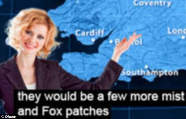 Fox or frost? The gaffes are not just restricted to News and Sports channels - with one of the broadcaster's Weather presenters previously subtitled as saying: 'they would be a few more mist and Fox patches'