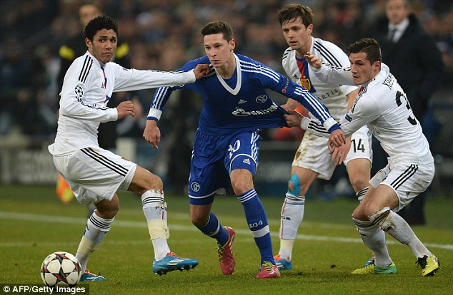 Wanted: Arsenal's hopes of signing Schalke's Julian Draxler (centre) may have been dashed as Real Madrid have entered the race