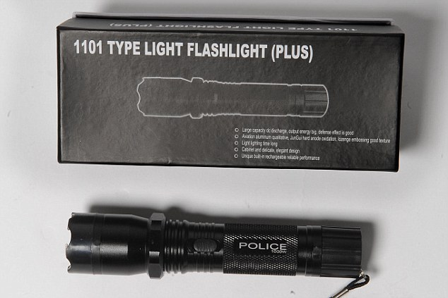 Illegal: This stun gun, bought on eBay by the Mail on Sunday, was advertised as a torch to get round the website's safeguards