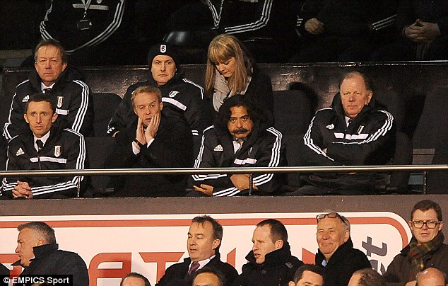 Decision made: Fulham owner and chairman Shahid Khan, centre, has brought in Magath as his team's new manager as he tries to arrest their poor form