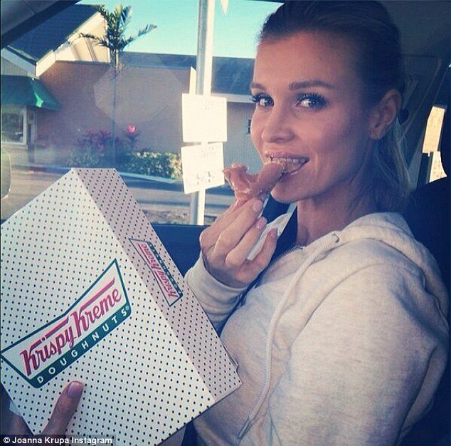 Mmm...The 34-year-old reality star chowed down on three glazed doughnuts before shopping at the baby store