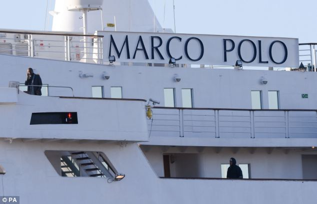 Workers: Crew members on board the ship, which was battered by storms in the English channel on Valentine's Day