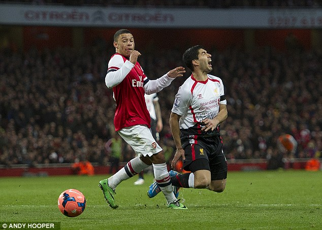 Blatant? Alex Oxlade-Chamberlain looked to have taken out Luis Suarez in the penalty area