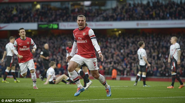 Running away with it: Oxlade-Chamberlain (above) and Lukas Podolski (below) put Arsenal on their way