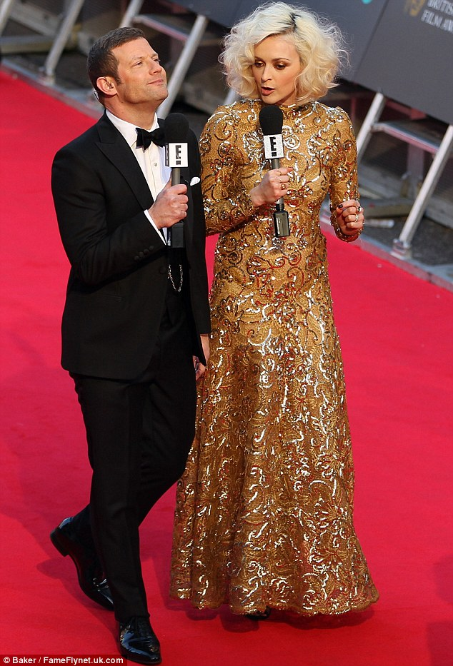 Eye-catching pair: The 32-year-old was joined by Dermot O'Leary to host the E Channel's BAFTA Red Carpet Show