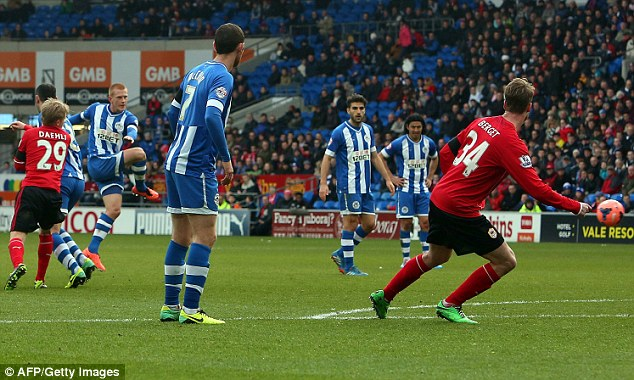 Screamer: Ben Watson - who scored the winner in the 2013 FA Cup final - scores for Wigan on Saturday