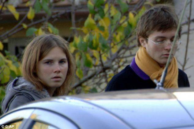 Amanda Knox (left) and her former boyfriend Raffaele Sollecito (right) were last month reconvicted of murdering Meredith. Drug dealer Rudy Guede was earlier found guilty and is serving time
