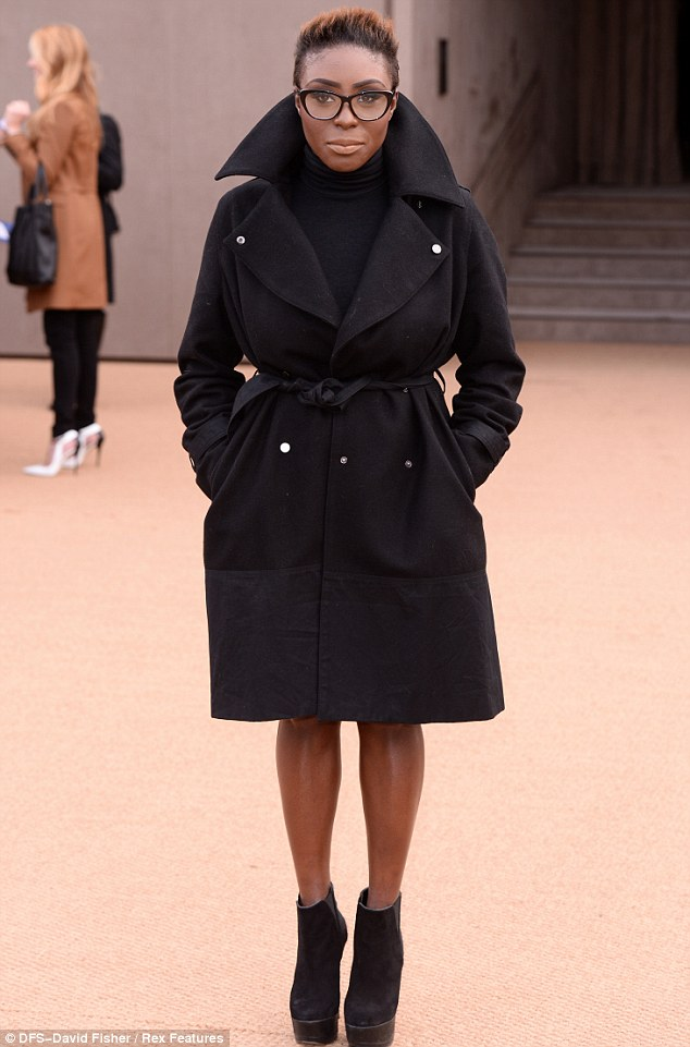 Specs appeal: Singer Laura Mvula teamed her all-black outfit with a pair of thick-rimmed glasses