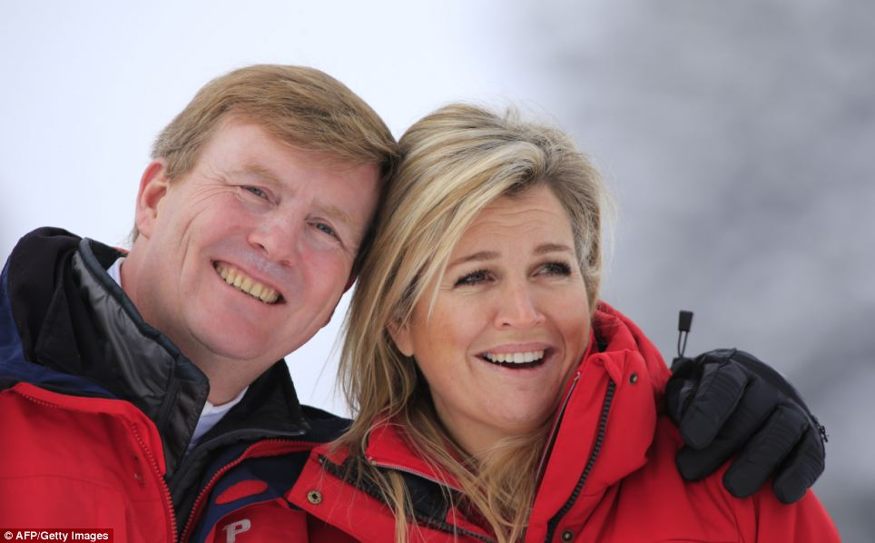 Happy: It is the first skiing holiday the couple have taken since Willem-Alexander was appointed king in April 2013 after his mother, Beatrix, abdicated