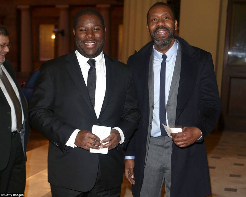 Joker: Also present was comedian Lenny Henry (pictured with director Steve McQueen), who made a joke about Helen Mirren's film performance as the Queen