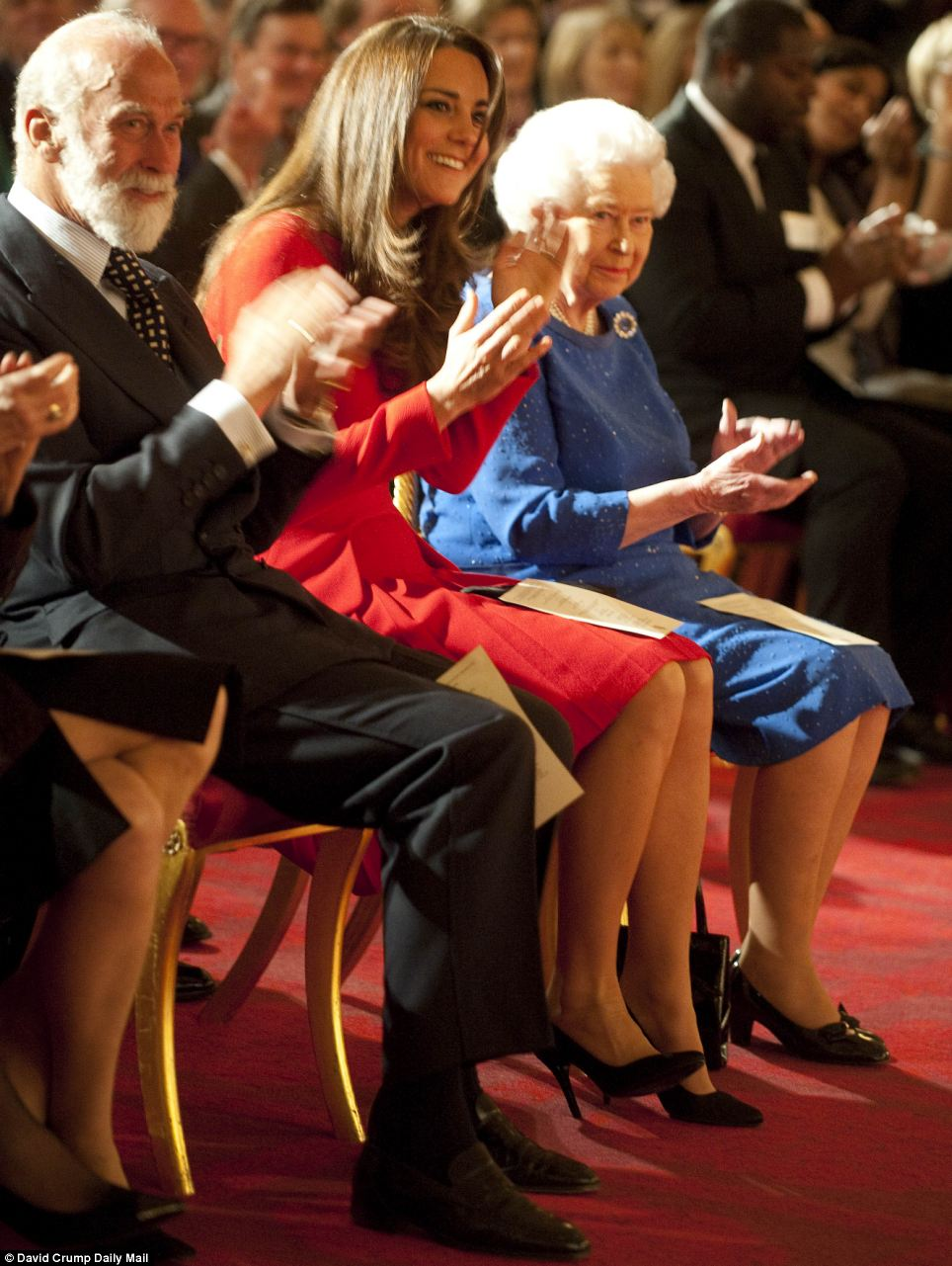 Applause: The Queen, the Duchess of Cambridge and Prince Michael of Kent watch the performance at Buckingham Palace