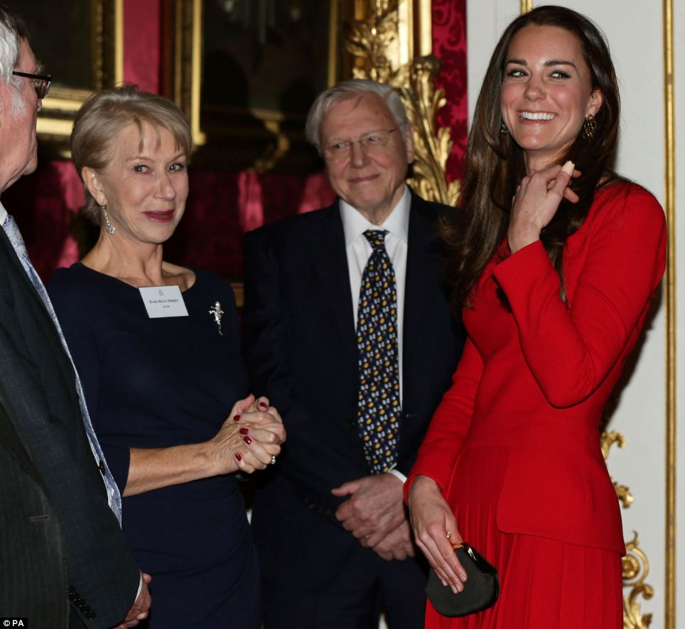 """Overwhelmed: Speaking about being introduced to Her Majesty, Dame Helen (pictured above with Kate and Sir David) said: 'You're thinking """"its the Queen it's the Queen""""'"""