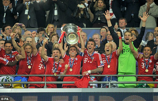 Champions of Europe: Bayern lift the Champions League trophy after defeating Borussia Dortmund in the final