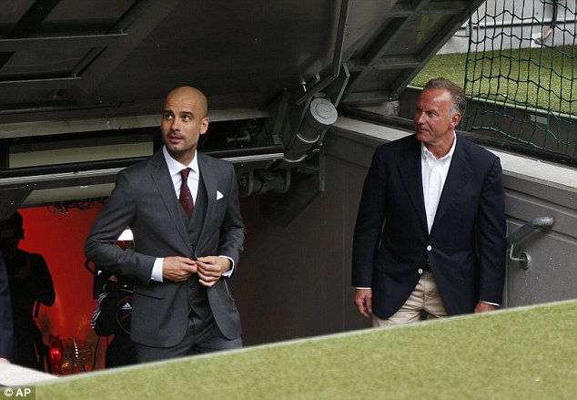 Copycats: Rummenigge, pictured with Guardiola shortly after his appointment, hopes the Spaniard can deliver the same amount of continued success at Bayern as he did with Barcelona